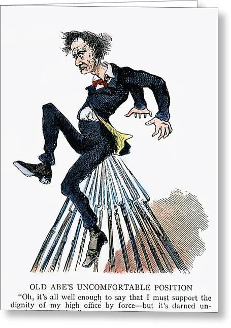 Bayonet Greeting Cards - Abraham Lincoln: Cartoon Greeting Card by Granger