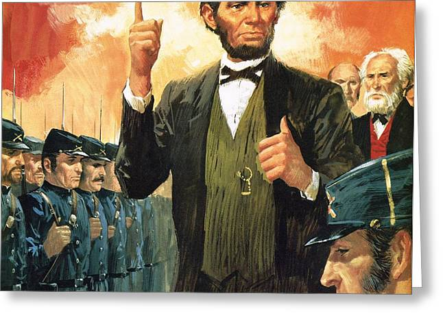 Abraham Paintings Greeting Cards - Abraham Lincoln Greeting Card by English School