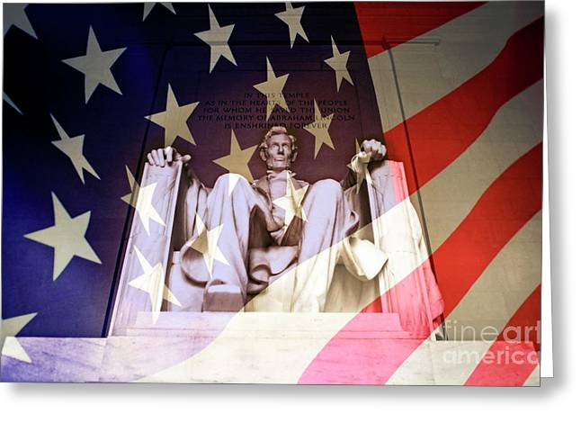 Sami Sarkis Greeting Cards - Abraham Lincoln Memorial blended with American flag Greeting Card by Sami Sarkis