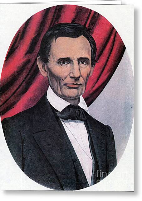 Proclamation Greeting Cards - Abraham Lincoln, Republican Candidate Greeting Card by Photo Researchers