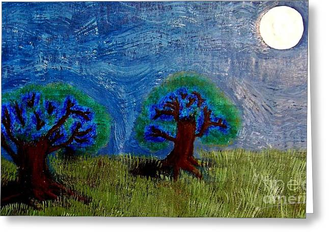Planetoid Paintings Greeting Cards - Abres De La Lune Greeting Card by Angela Pari  Dominic Chumroo