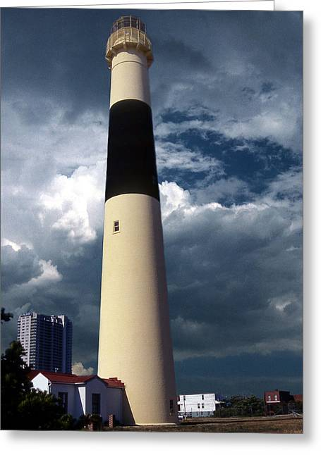 Legendary Lighthouses Greeting Cards - Absecon Lighthouse Greeting Card by Skip Willits