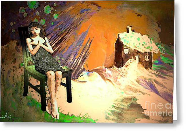 Separation Paintings Greeting Cards - Absent Love Greeting Card by Miki De Goodaboom