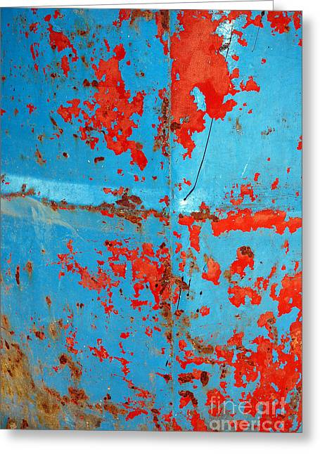 Metallic Sheets Greeting Cards - Abstrac Texture Of The Paint Peeling Iron Drum Greeting Card by Antoni Halim