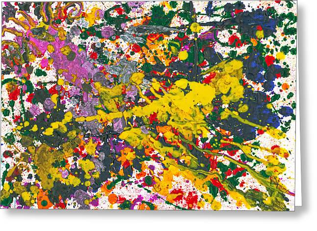 Abstract - Crayon - One Evening At The Diner Greeting Card by Mike Savad