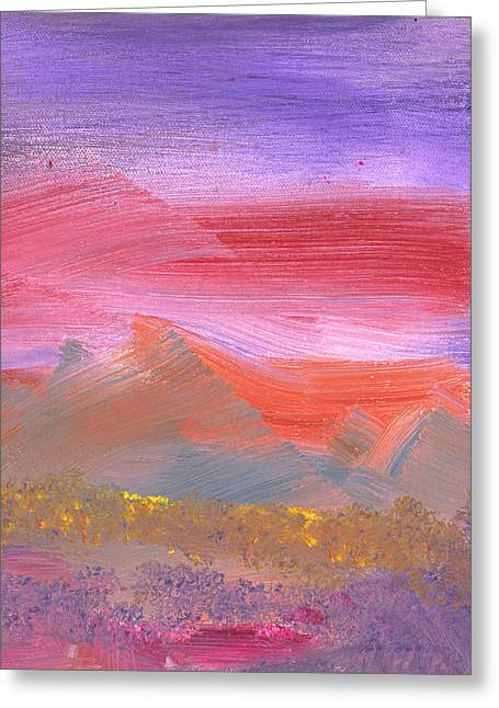 Wonderment Greeting Cards - Abstract - Guash - Lovely meadows 1 of 2 Greeting Card by Mike Savad