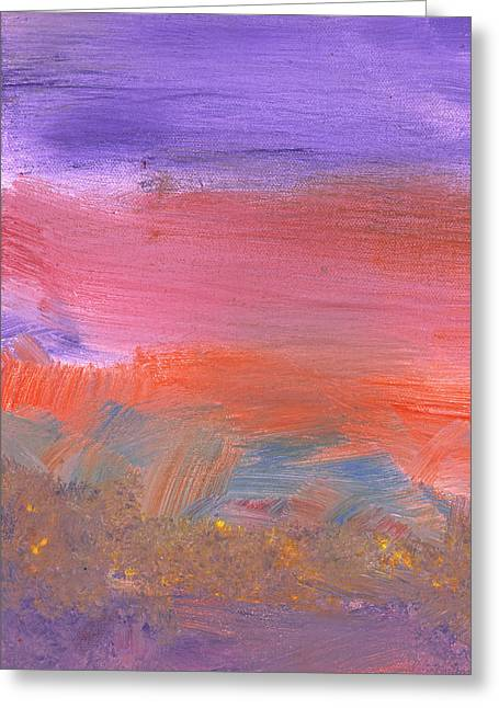 Wonderment Greeting Cards - Abstract - Guash - Lovely meadows 2 of 2 Greeting Card by Mike Savad