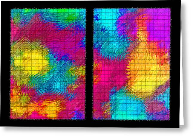 Morphing Greeting Cards - Abstract - Ripples Diptych Greeting Card by Steve Ohlsen