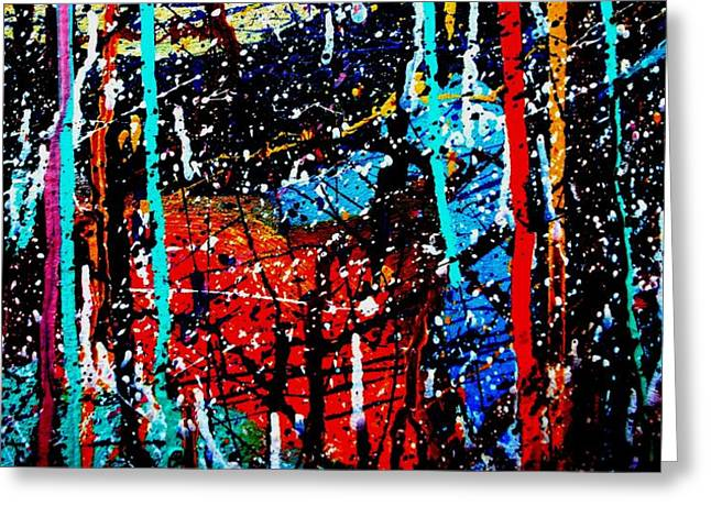 Expressionism Mixed Media Greeting Cards - Abstract 12 Greeting Card by John  Nolan