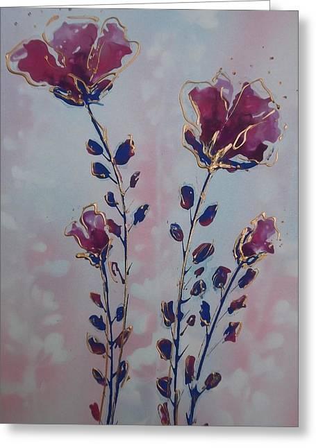 Pinks And Purple Petals Greeting Cards - Abstract Anenomun Greeting Card by Jan Soper