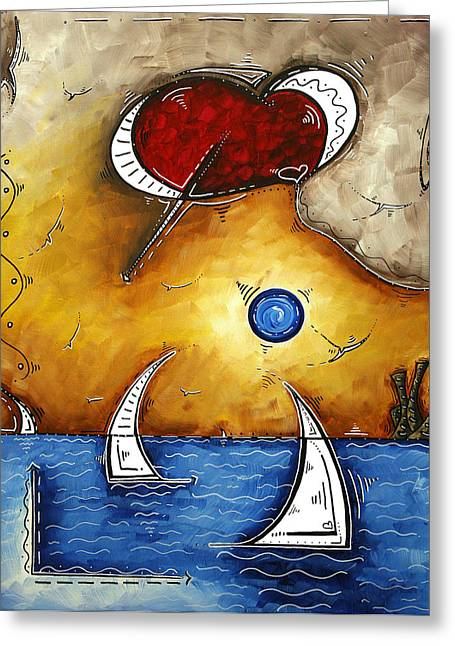 Licensor Greeting Cards - Abstract Art Contemporary Coastal Cityscape 3 of 3 CAPTURING THE HEART OF THE CITY I by MADART Greeting Card by Megan Duncanson
