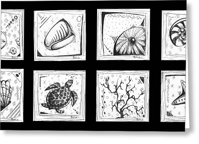 Sand Drawings Greeting Cards - Abstract Art Contemporary Coastal Sea Shell Sketch Collection by MADART Greeting Card by Megan Duncanson