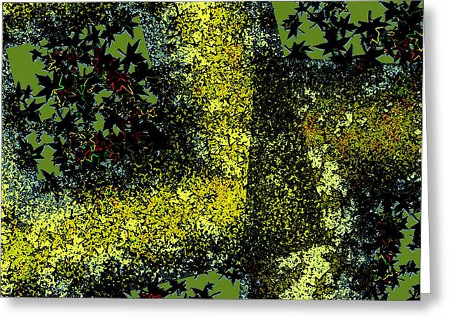 Geometry And Diagonals Greeting Cards - Abstract Art of Leaves within diagonals  Greeting Card by Mario  Perez