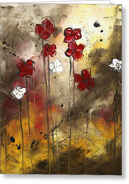 Licensor Greeting Cards - Abstract Art Original Flower Painting FLORAL ARRANGEMENT by MADART Greeting Card by Megan Duncanson