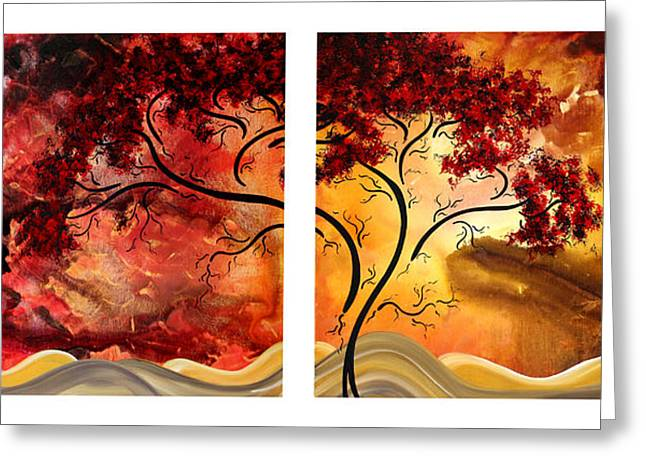 Licensor Greeting Cards - Abstract Art Original Landscape Painting SWEET EMBRACE by MADART Greeting Card by Megan Duncanson