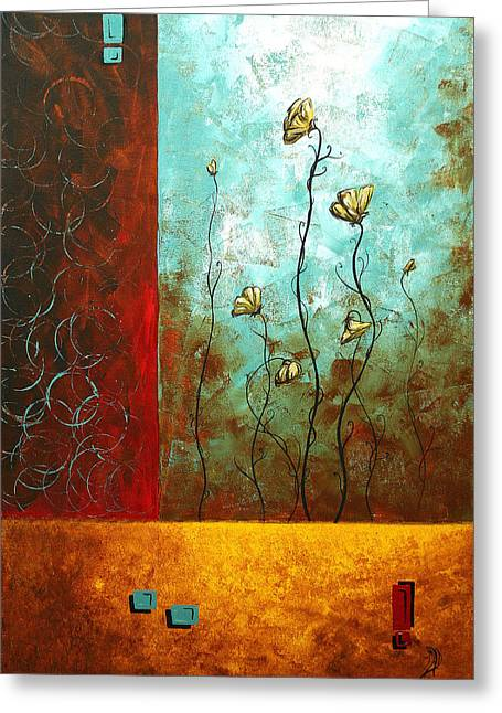 Licensor Greeting Cards - Abstract Art Original Poppy Flower Painting SUBTLE CHANGES by MADART Greeting Card by Megan Duncanson