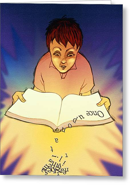 Dyslexia Greeting Cards - Abstract Artwork Of A Dyslexic Boy Reading A Book Greeting Card by David Gifford