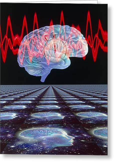 Eeg Greeting Cards - Abstract Artwork Of Human Brain & Eeg Brainwaves Greeting Card by Mehau Kulyk