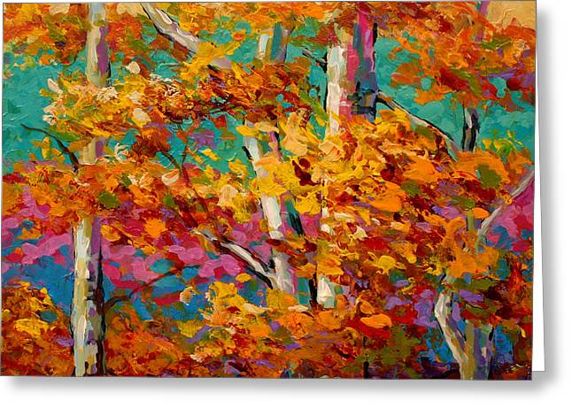 Lake Paintings Greeting Cards - Abstract Autumn III Greeting Card by Marion Rose