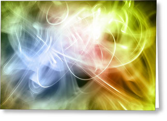 Swirly Greeting Cards - Abstract background Greeting Card by Les Cunliffe