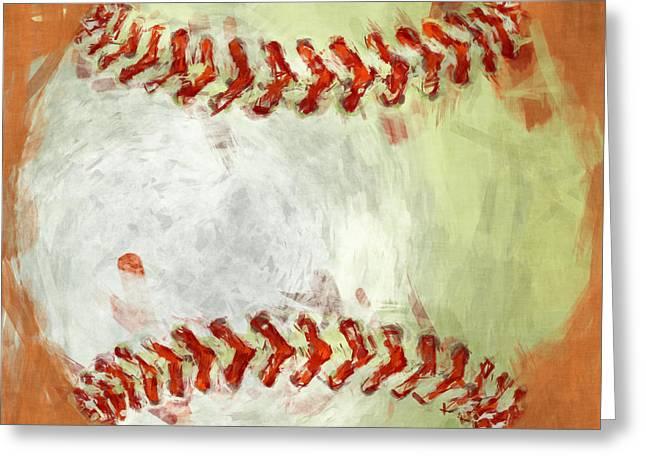 Baseball Art Greeting Cards - Abstract Baseball Greeting Card by David G Paul
