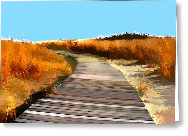 Sand Dunes Paintings Greeting Cards - Abstract Beach Dune Boardwalk Greeting Card by Elaine Plesser