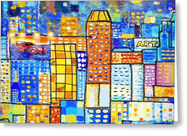 Poster Graphics Greeting Cards - Abstract City Greeting Card by Setsiri Silapasuwanchai