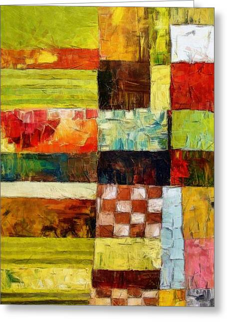 Colorful Quilts Greeting Cards - Abstract Color Study with Checkerboard and Stripes Greeting Card by Michelle Calkins