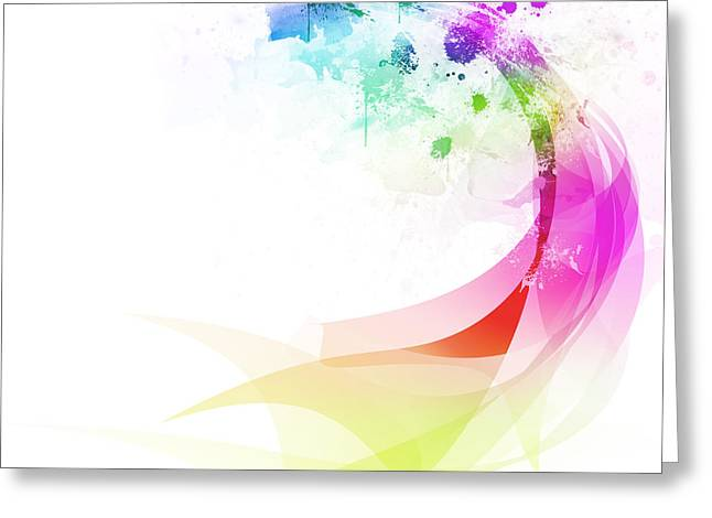 Mesh Greeting Cards - Abstract colorful curved Greeting Card by Setsiri Silapasuwanchai