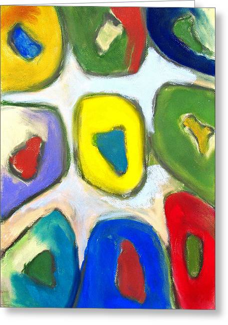 Abstractions Pastels Greeting Cards - Abstract Colorful Nine Muses  Greeting Card by Kazuya Akimoto