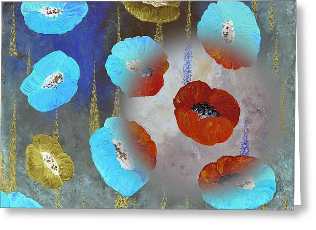 Floral Digital Art Paintings Greeting Cards - Abstract Colorful Poppies Greeting Card by Georgeta  Blanaru