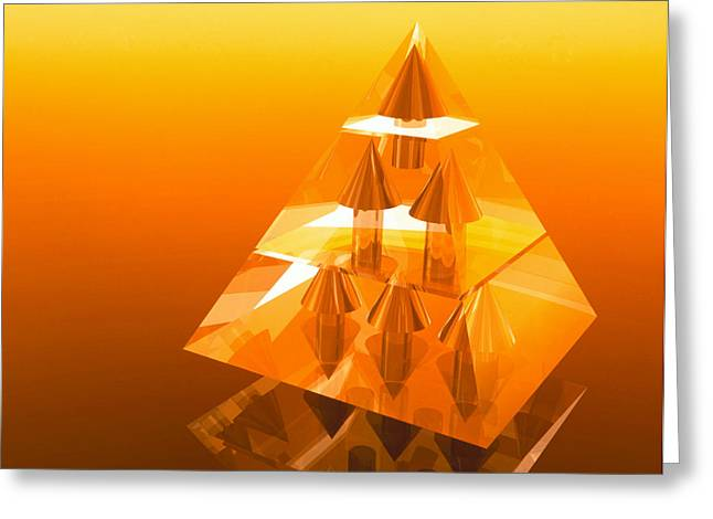 Pyramids Art Greeting Cards - Abstract Computer Artwork Of A Pyramid Of Arrows Greeting Card by Laguna Design