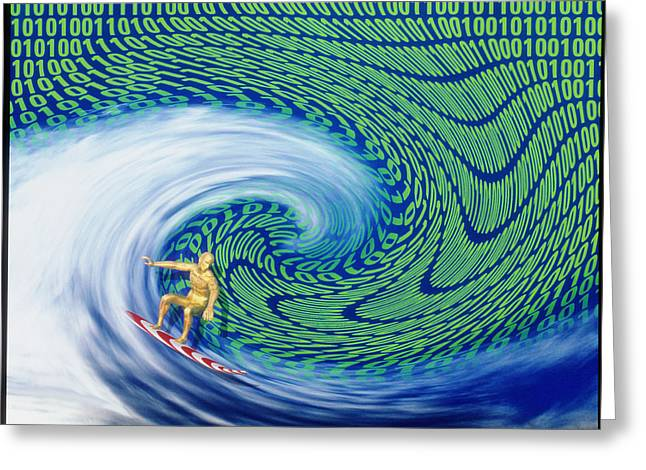 Surfing Art Greeting Cards - Abstract Computer Artwork Of Surfing The Internet Greeting Card by Laguna Design