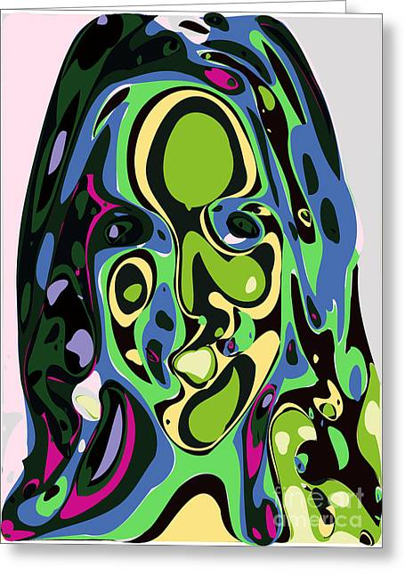 Shape Greeting Cards - Abstract face 4 Greeting Card by Chris Butler