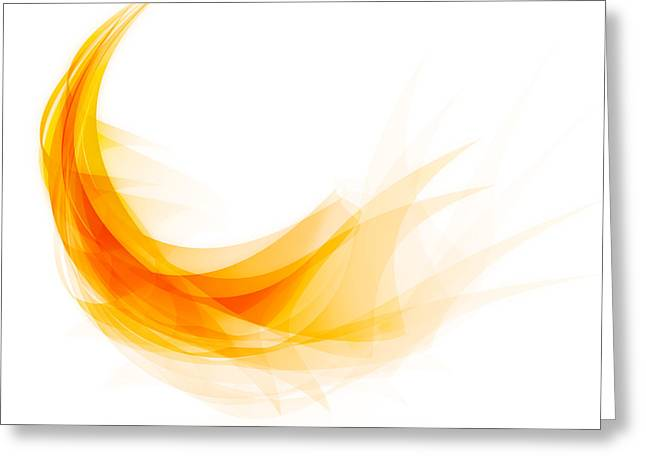 Curves Greeting Cards - Abstract feather Greeting Card by Setsiri Silapasuwanchai