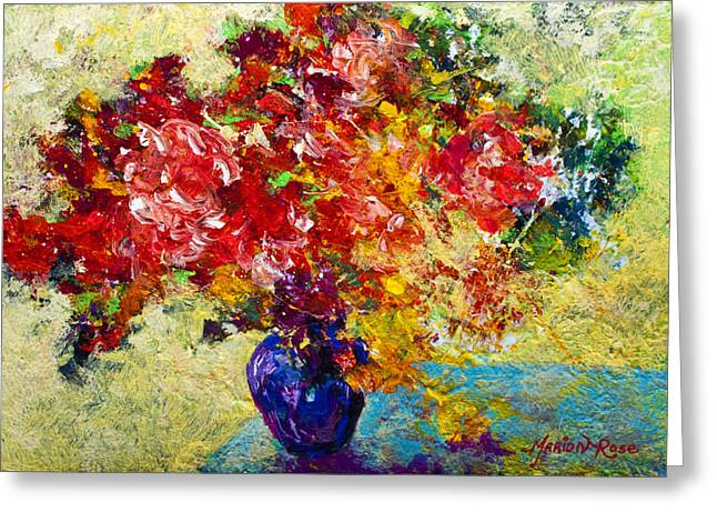 Vineyards Paintings Greeting Cards - Abstract Floral 1 Greeting Card by Marion Rose