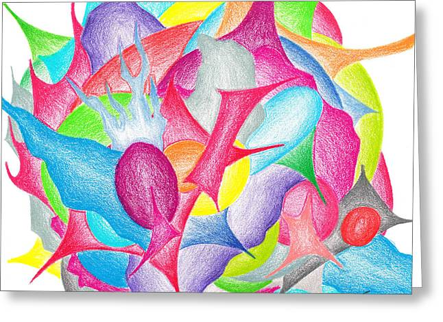 Bright Drawings Greeting Cards - Abstract flower Greeting Card by Jera Sky