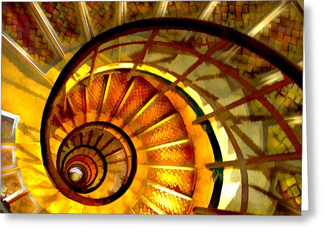 Abstract Digital Paintings Greeting Cards - Abstract Golden Nautilus Spiral Staircase Greeting Card by Elaine Plesser