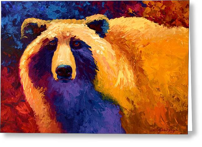 Western Abstract Greeting Cards - Abstract Grizz II Greeting Card by Marion Rose