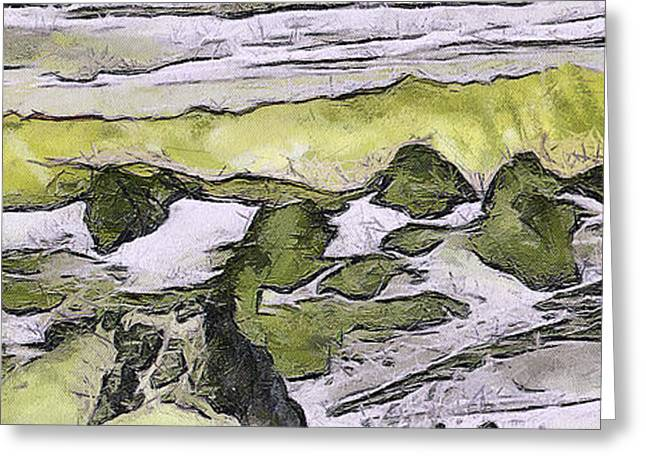 Dewily Greeting Cards - Abstract in green Greeting Card by Odon Czintos
