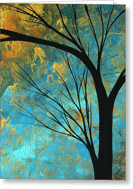 Turquoise Abstract Art Greeting Cards - Abstract Landscape Art PASSING BEAUTY 3 of 5 Greeting Card by Megan Duncanson