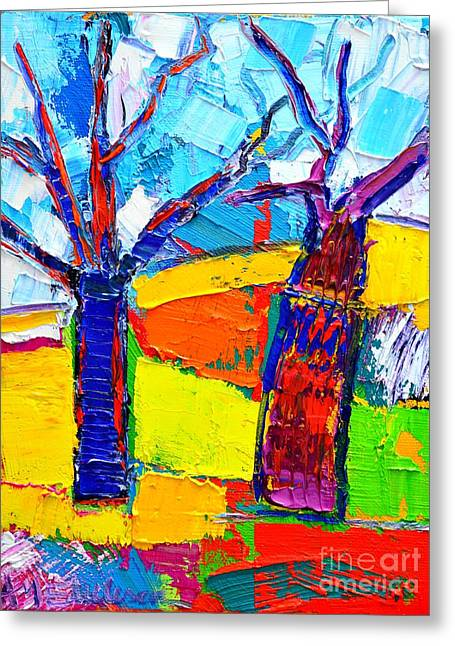 Abstract Expressionist Greeting Cards - Abstract Landscape - Dancing Trees Greeting Card by Ana Maria Edulescu