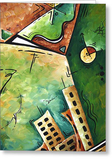Bold Style Greeting Cards - Abstract Martini Cityscape Contemporary Original Painting MARTINI HOUR by MADART Greeting Card by Megan Duncanson