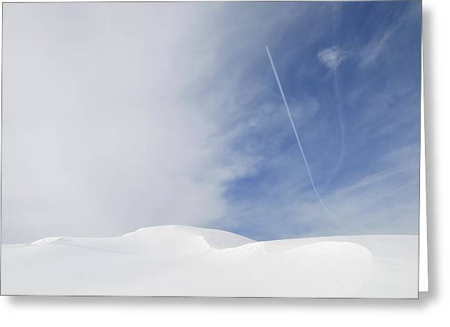 Snow-covered Landscape Greeting Cards - Abstract minimalist winter landscape - snow and blue sky Greeting Card by Matthias Hauser