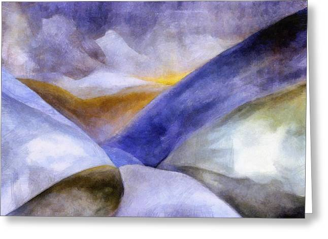 Fog Rising Greeting Cards - Abstract Mountain Landscape Greeting Card by Michelle Calkins