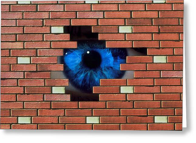 Oppression Greeting Cards - Abstract Of Eye Looking Through Hole In Brick Wall Greeting Card by Mehau Kulyk