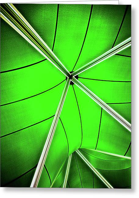 Strut Greeting Cards - Abstract Of Green Greeting Card by Meirion Matthias