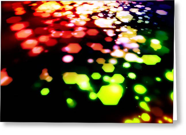 Abstract Of Hexagon Shape Blur Background Greeting Card by Setsiri Silapasuwanchai