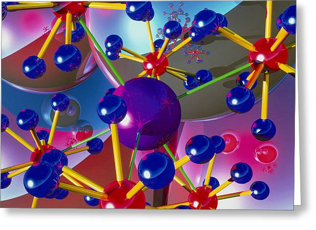 Molecular Models Greeting Cards - Abstract Of Molecules Greeting Card by Roger Harris