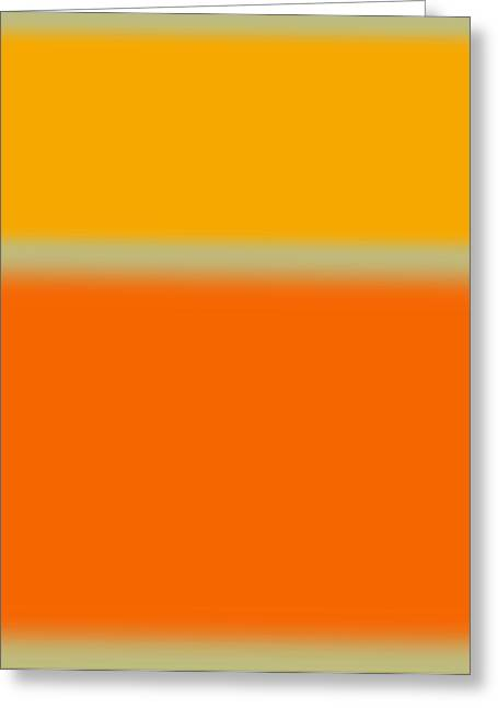 Office Space Greeting Cards - Abstract Orange and Yellow Greeting Card by Naxart Studio